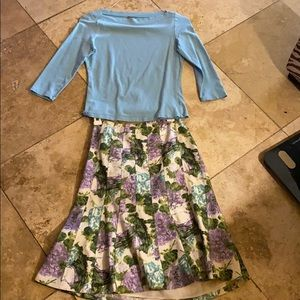Ann Taylor Teal Purple Top & Floral Pleated Skirt